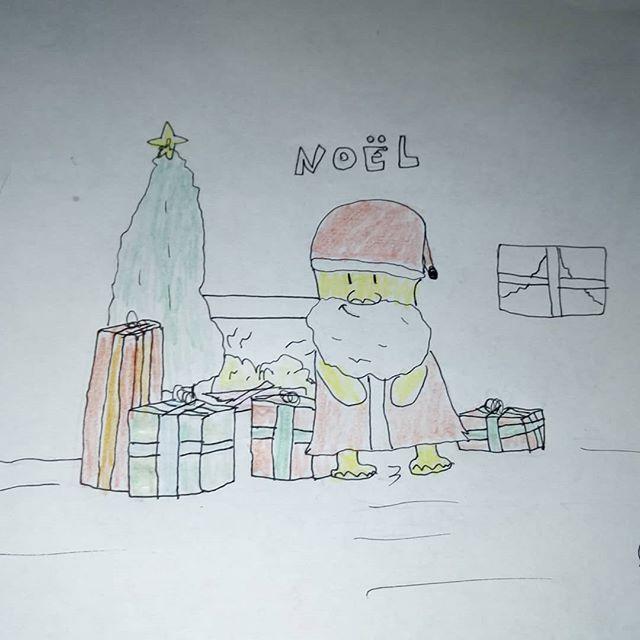champimimignon père noêl livrent les cadeaux