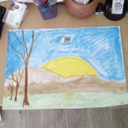 Coucher de soleil survolé par super champmini